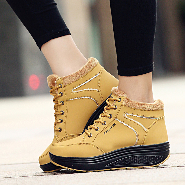 2017 winter waterproof women Boots cotton super warm shoes women's winter platform ankle boots for women height increasing Boots