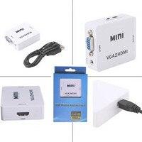 Nieuwe groothandel 1 STKS mini VGA naar HDMI converter met audio voor PC laptop naar HDTV Projector in retail-pakket VGA naar HDMI converter
