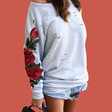 Vintage Floral Rose Embroidered Hoodie Poleron Mujer 2019 5xl Plus Size Women One Shoulder Sweatshirt Ripped Hoodie Pullover halloween plus size drop shoulder graphic pullover hoodie