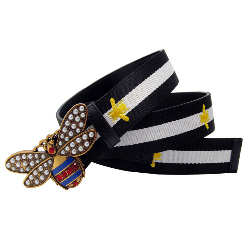 Rhinestone Peal Bee Buckle Women Belt Gift Contrast Color embroidery Bee Canvas Leather Lady Strap With Jeans