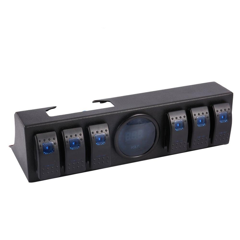 6 Gang кулисный переключатель Панель переключатель Управление Панель системном с Напряжение цифровой измеритель Дисплей для Jeep Wrangler JK TJ