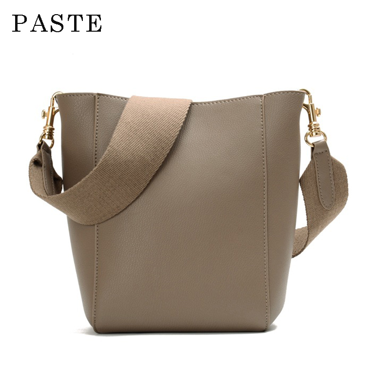 New Arrival Elegant Women s Leather Bucket Bag Ribbon Embossed Genuine Leather Shopping Bag High Quality