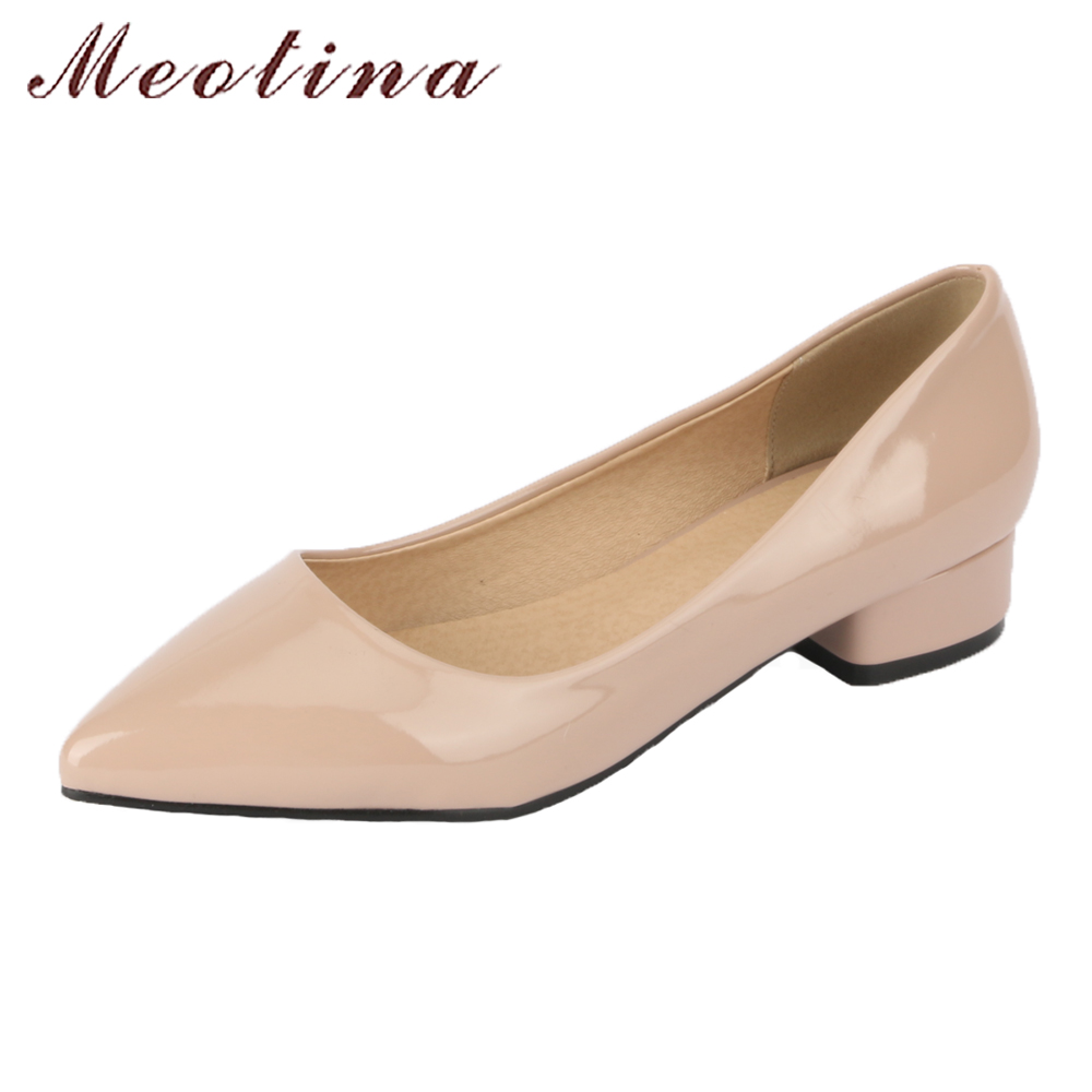 Meotina Women Shoes Pumps Pointed Toe Thick Heels Spring Ladies Low Heels Slip On Casual Shoes 2018 White Red Large Size 9 42 43 women shoes pumps spring 2017 thick low heels autumn elegant slip on pointed toe casual shoes ladies office wear big size 41 42