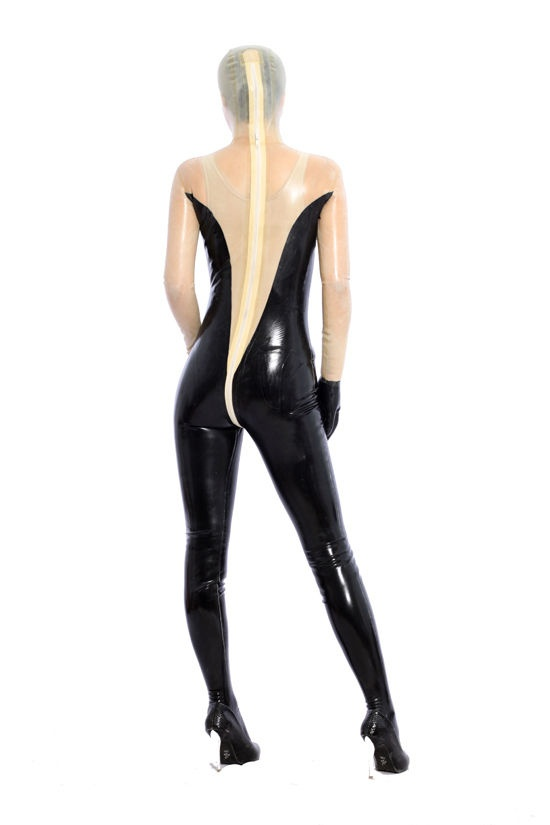 Latex Rubber Women Transparent and Black Catsuit Glove Full-body Bodysuit Tights Size XS~XXL