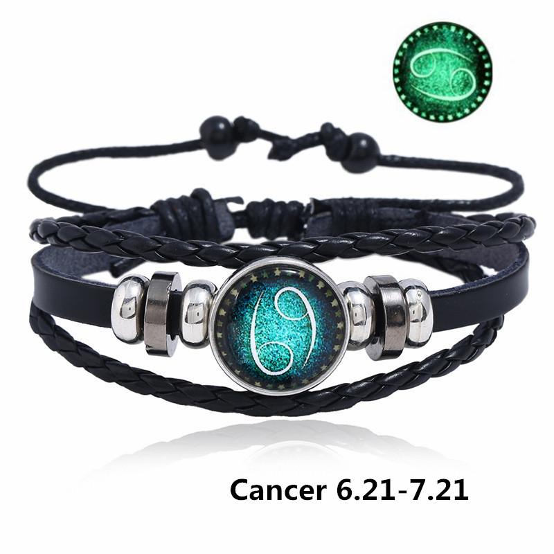 DropShipping 12 Constellations Charm Women Bracelet Zodiac Sign Bangle & Bracelets Men Boys Jewelry Watch Accessories