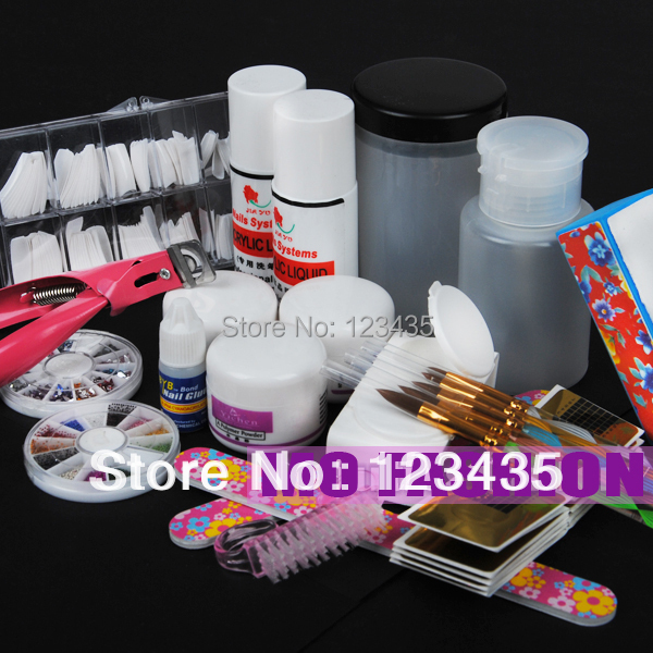 Acrylic Powder Liquid KITS UV NAIL ART TIP Set Dust Stickers Brush A011