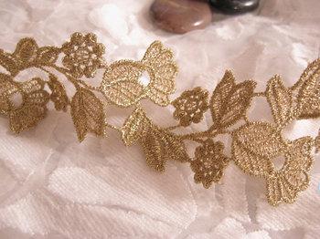Gold venise lace trim, golden crocheted bridal lace, vintage floral and leaves trim lace 10 yards/lot