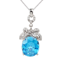 Real 925 Sterling Silver Pendant Necklace Women Jewelry 10x12mm Oval Sky Blue CZ 18-inch Cable Chain Butterfly Knot P050BS