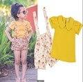 Retail 2016 New girls clothing sets Summer girls broken flower 2pcs Summer short sleeve T-shirt + overalls