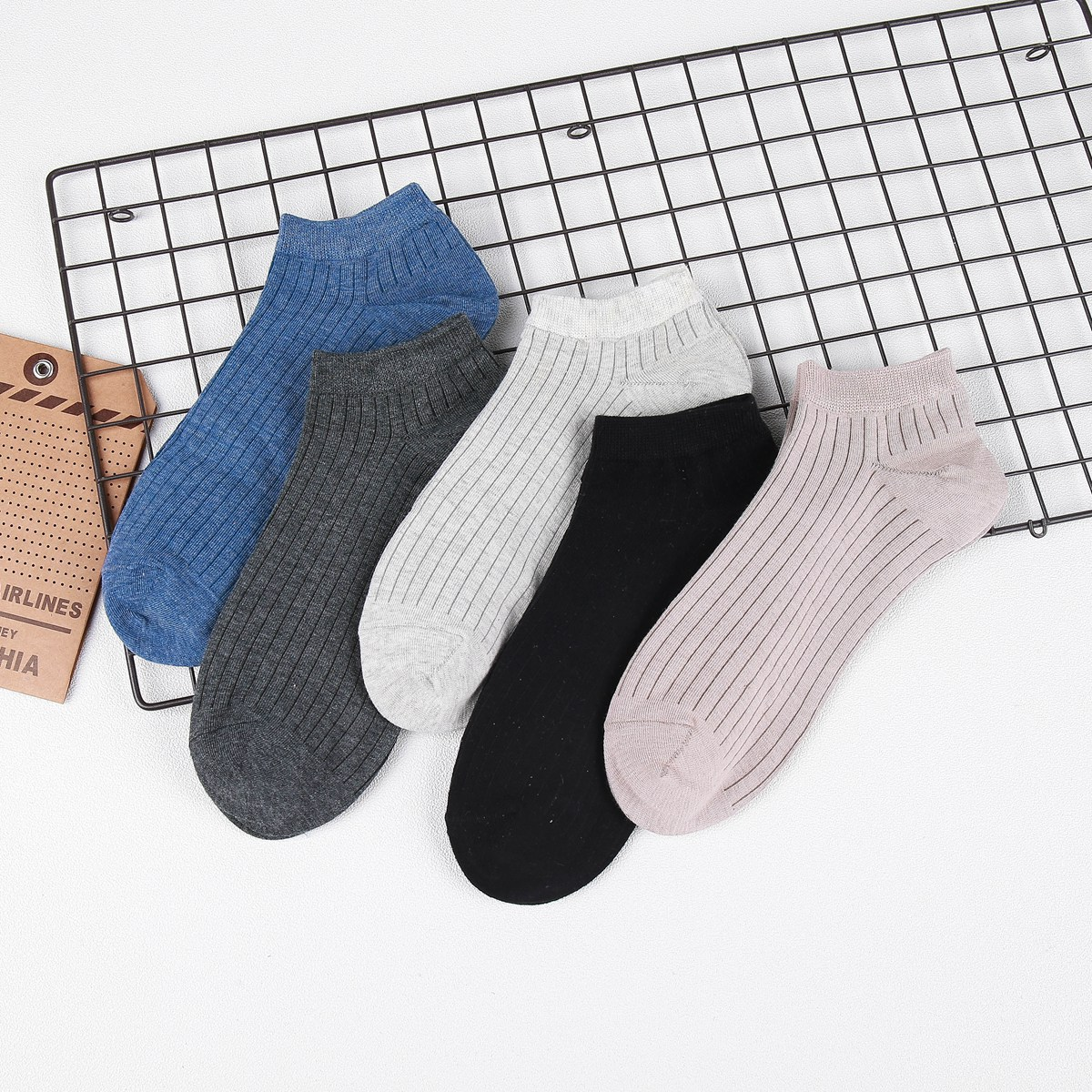 Gift Box 5Pairs/Lot Mens Boat Socks Pure Color Spring and Summer Vertical Bar Classic Cotton Breathable Stealth Invisible Socks