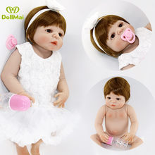 DollMai 55cm Full body silicone reborn baby doll toys lifelike newborn girl princess bebes reborn kids child brithday gift(China)