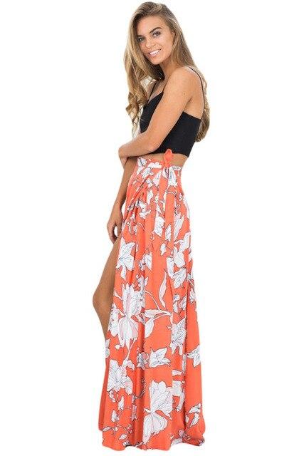 4273b382f Aletterhin Orange White Floral Maxi Skirt Women High Slit Summer Beach  Skirts 2018 Lady Cut Out