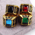 Brand Jewelry Vintage Antique Gold Plated Crystal Ring For Men Stainless Steel Big Square Stone Finger Ring Male Men Jewelry