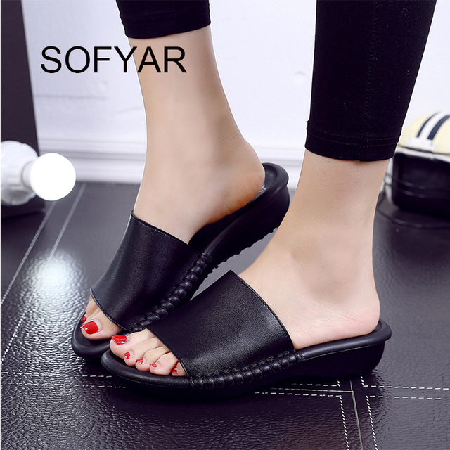 Genuine leather slipper ladies high heeled wedges women slides sewing solid beach slipper indoor home shoes high quality shoes