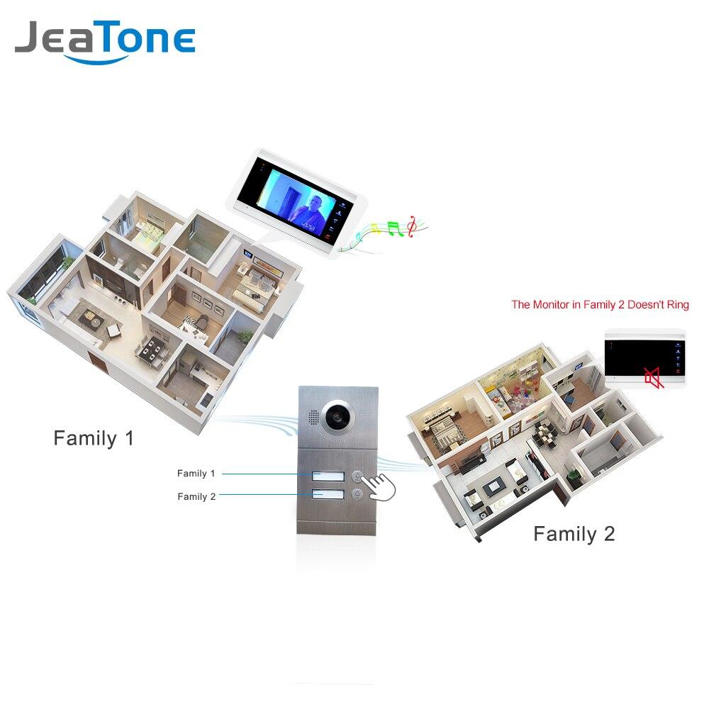 "Купить с кэшбэком Jeatone 7"" Multi Apartment Video Door Phone Video Intercom Doorbell System 1200 TVL Camera Touch Key for 2 Apartments"