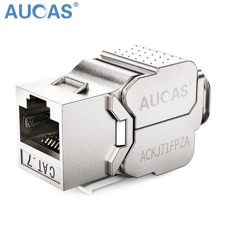 цена на Aucas Cat7 Keystone RJ45 Zinc Alloy FTP Patch Panel Module Modular Plug Connector Shielded Cat7 Keystone Jack Cable Socket