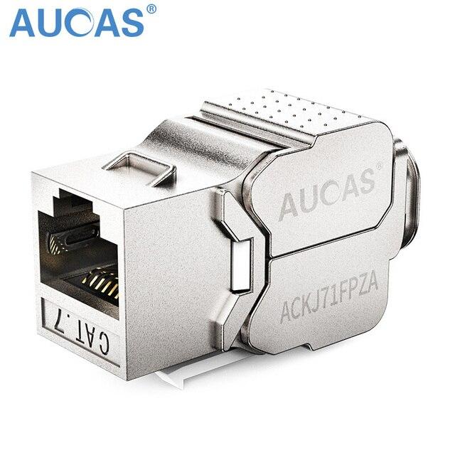 Aucas Gigabit Cat7 Keystone RJ45 Zinc Alloy FTP Patch Panel Module Modular Plug Connector Shielded Keystone Jack Cable Socket