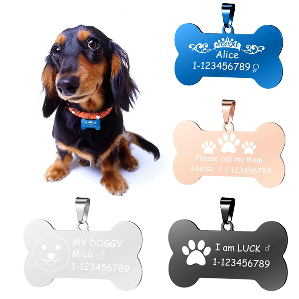 Customized Engrave Pet Name Stainless Steel Pendant Bone Shape Pet Dog Cat ID Tag Accept 1pcs Customize SL-024