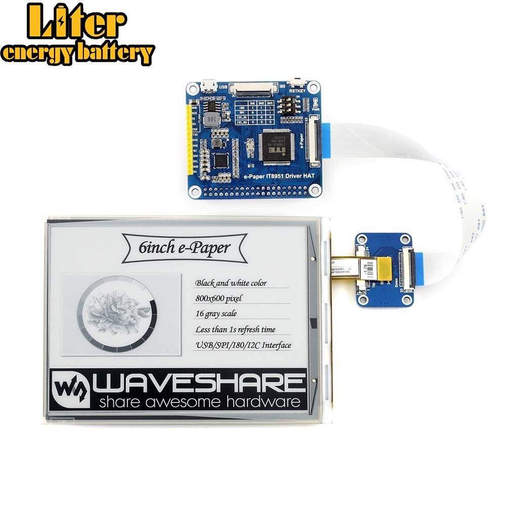 Waveshare 6 pouces e-ink chapeau d'affichage pour Raspberry Pi, 800*600, IT8951controller, interface USB/SPI/I80/I2C, affichage clair