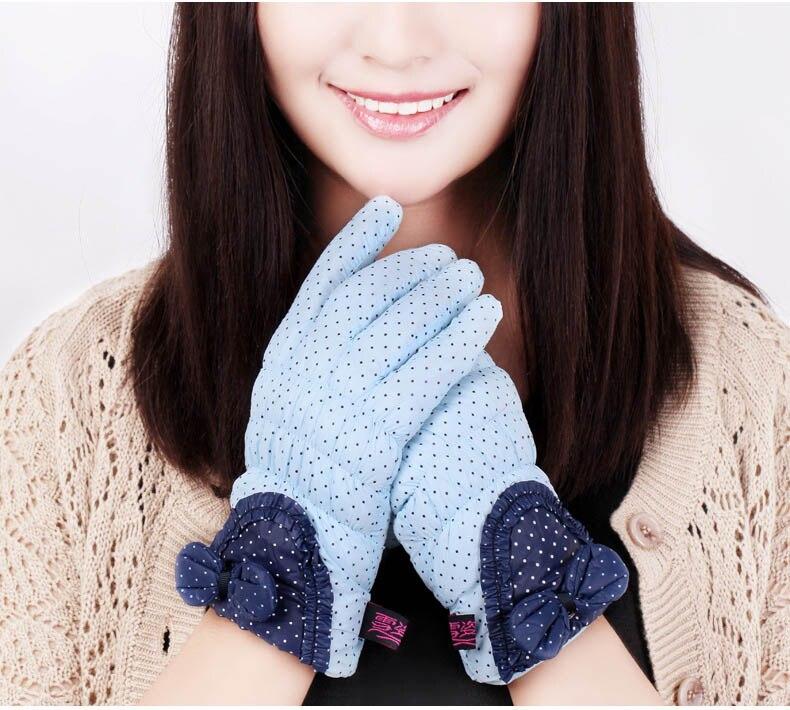 GLV826 Winter font b gloves b font Ladies bowknot wave point warm woman riding sports font
