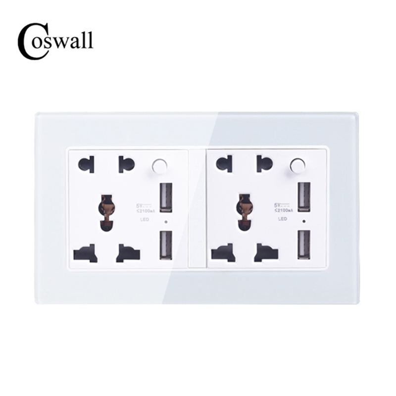 Coswall Crystal Glass Panel Wall Socket Double Universal 5 Hole Outlet With 2100mA 4 USB Charger Port for Mobile 146mm*86mm