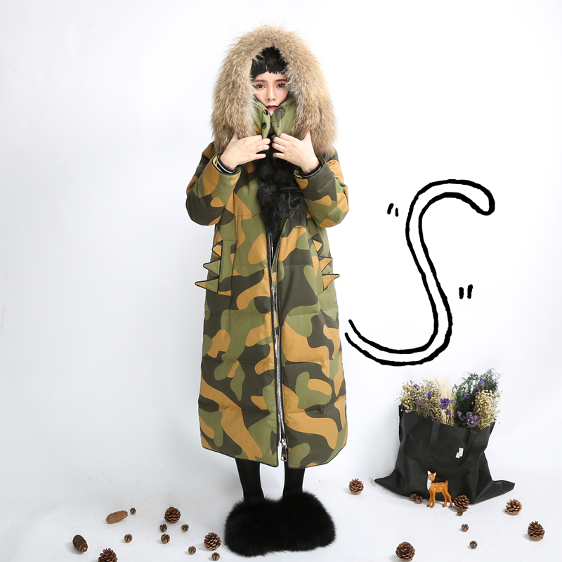XYJ217 Original Design warm removable real raccoon fur collar camouflage hooded loose x long white duck   down     coat   women winter