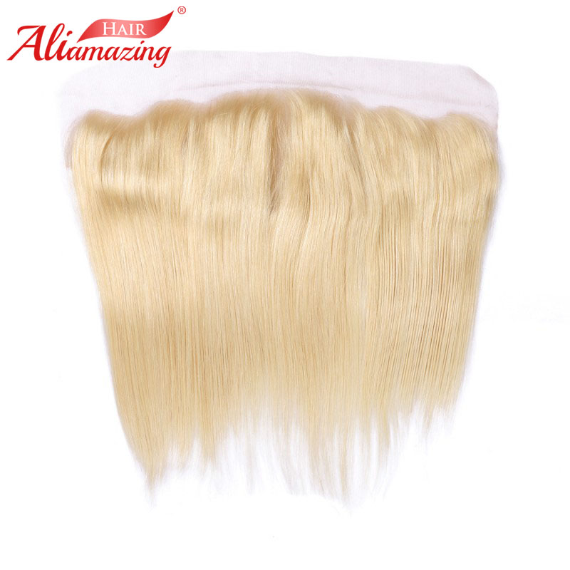 Ali Amazing Hair 13x4 Lace Frontal Brazilian Silky Straight Remy Human Hair Lace Frontal Middle Free Three Part Blonde 613 color image