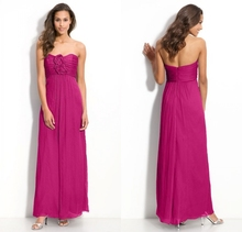 2015 New Stylish Plum Purple Strapless Ruched Chiffon Bridesmaid Dresses With Rosette Formal Dress Rendas Do Vestido Longo