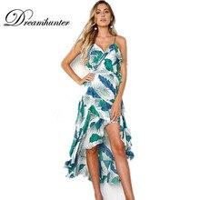02daec9e624 Leaves Print Summer Maxi Dress Women Vintage V Neck Sundress Green Beach  2018 Spaghetti Strap Backless
