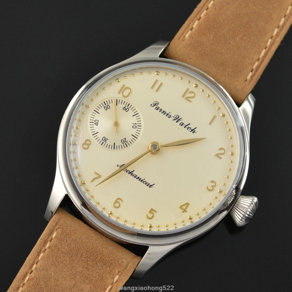 лучшая цена Parnis watch 44mm light yellow hand big Mechanical hand winding Men's Watch 6497 PN621