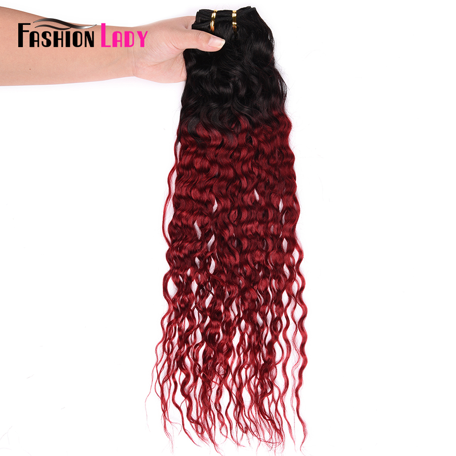 Fashion Lady Pre Colored Indian Water Wave Hair Bundles Ombre Human Hair Weave 1b/burgundy Hair 3/4 Bundle Deals Non remy