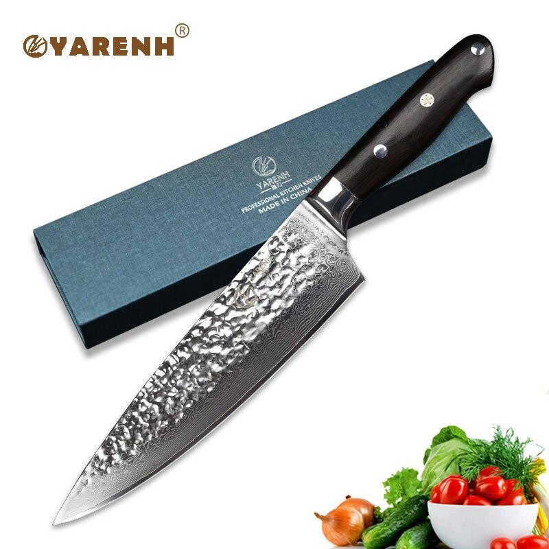 Yarenh 8.5 pouces Professionnel couteau de chef Japonais Damas acier inoxydable Gyuto Couteau meilleur couteaux de cuisine