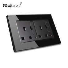 цена на Wallpad S6 Glass Panel Double 13A UK BS Socket with 3.1A 2 x USB Charging Ports, Wall Power Outlet Plate, White and Black, 3 x 6