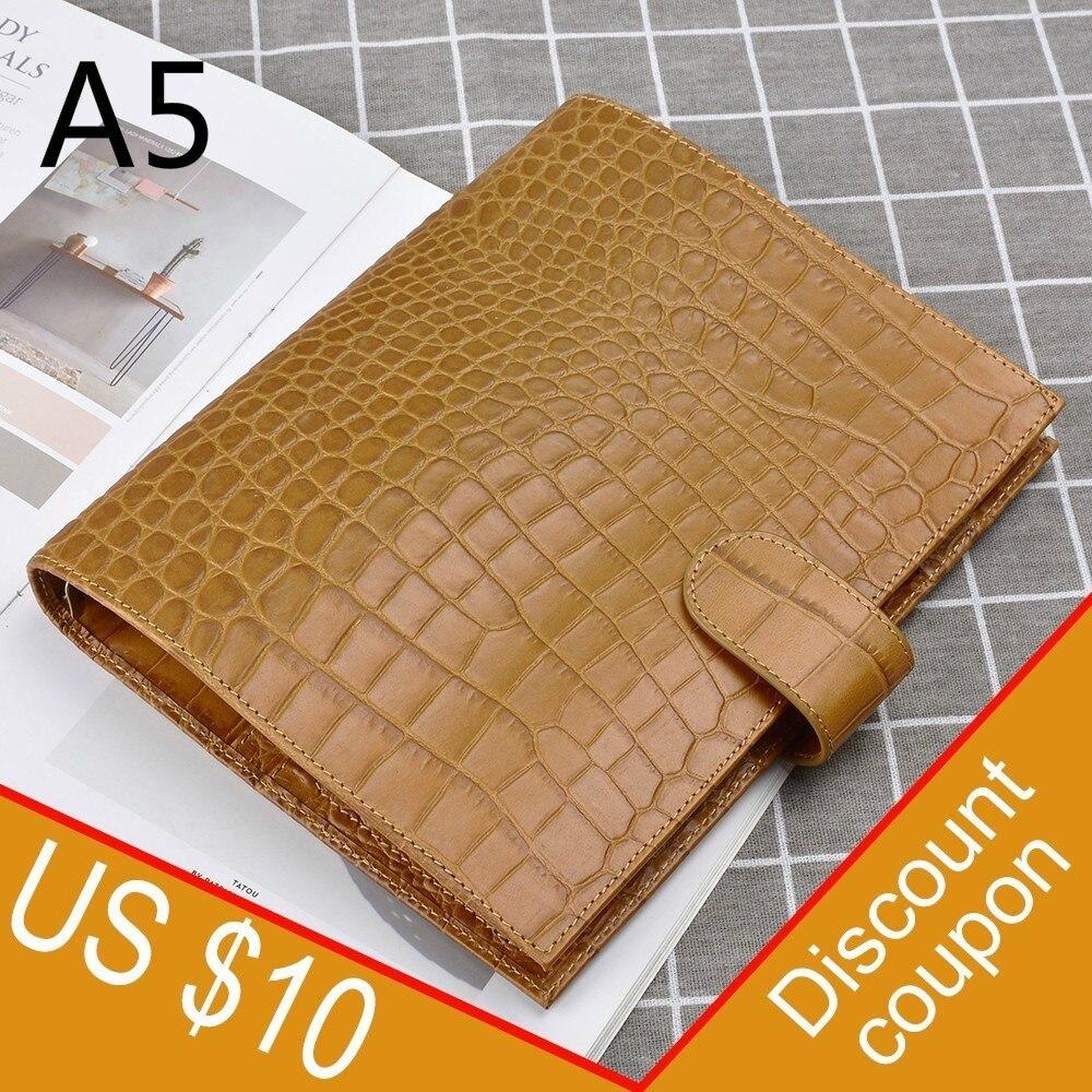 100% anillos de carpeta de cuero genuino cuaderno A5 tamaño Agenda organizador de diario de cuero de vaca cuaderno de bocetos planificador con bolsillo de dinero