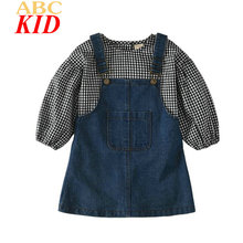 2017 Long Sleeve Blouse + Overalls Jeans Sets Baby Girls Plaid Shirts Tops Casual Denim Overall Pants KT187