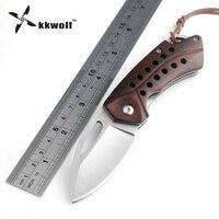 KKWOLF D2 Folding Knife Tactical Camping Hunting Key Chain Pocket Knives Sandalwood Handle EDC Rescue Multi