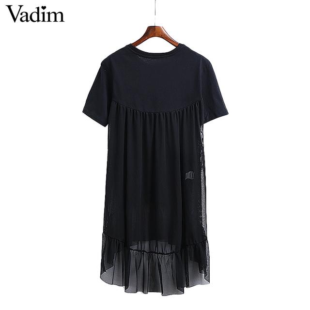 Women Mesh Patchwork Black Ruffles Dress Transparent Pleated Short Sleeve O Neck