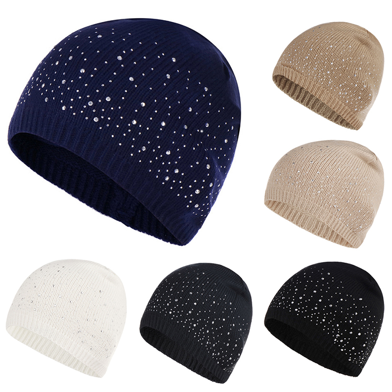 Fashion Soft Knitted Hat Women Winter Autumn Hats Rhinestone Cotton Hat Cap Female Point Dot Drill   Skullies     Beanies   Cap