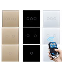 EU UK Standard Touch Switch Wall Light Touch Screen Switch Remote Control Wall Touch Switch White