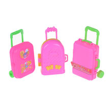 1pcs 3D Lovely Dolls House Kid Children Toys Travel Train Suitcase Luggage Case Doll Dress Storage Case Toys(China)