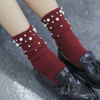 Spring 2018 Women Socks Elegant Pearls Beads Black Lady Wool Sock Female Vintage Soft Warm Harajuku
