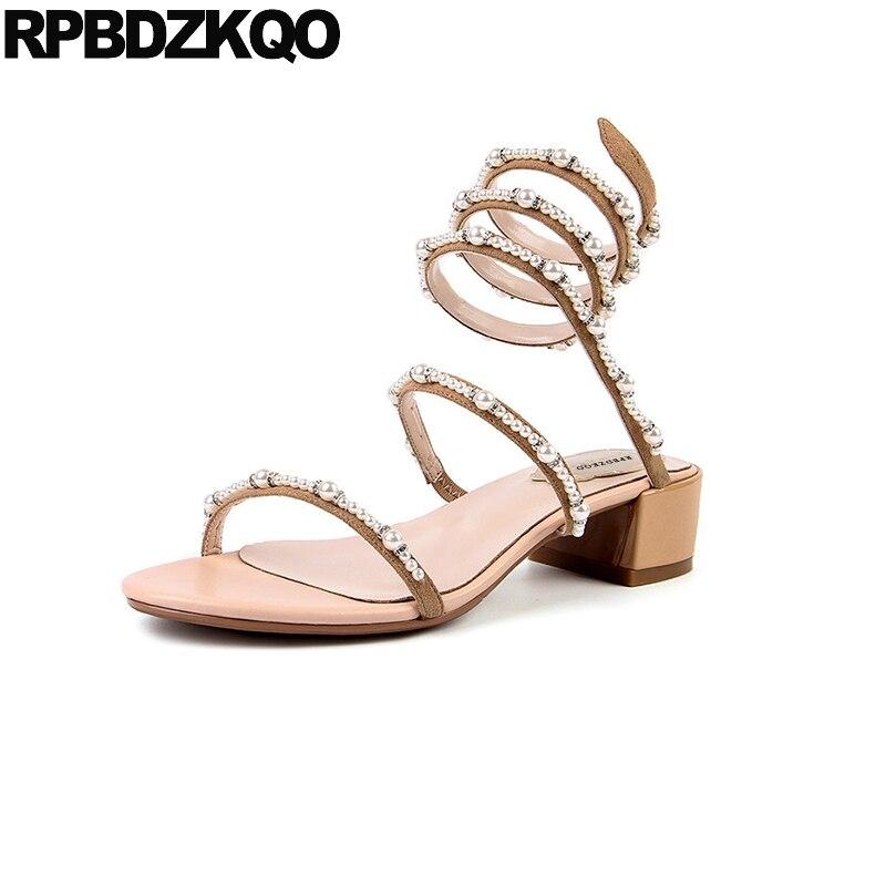 Beaded 2018 Sandals Gladiator Boots Luxury Shoes Women Designer Roman Open Toe Block Wedding Pearl Ladies Slip On Low Heel Nude