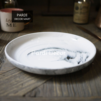American Northern Europe Style Marble Ceramic Dinner Plate Large 21cm Dinner Plate Steak Plate 1pc Lot