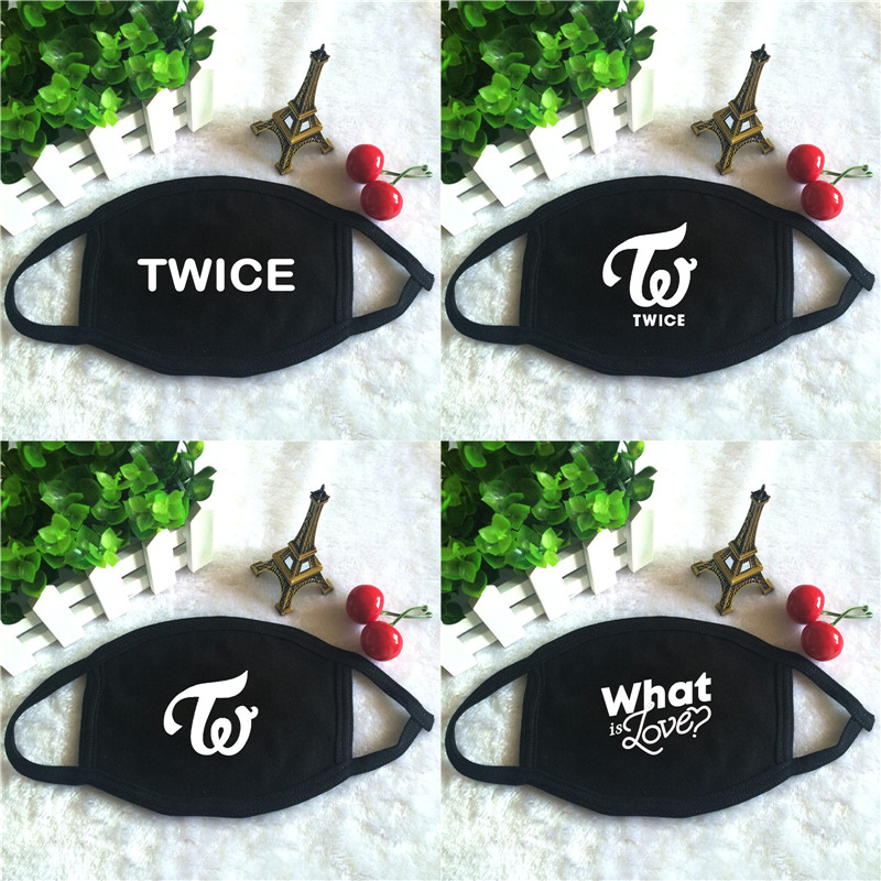 Kpop TWICE Album What Is Love Logo Print K-pop Fashion Face Masks Unisex Cotton Black Mouth Mask
