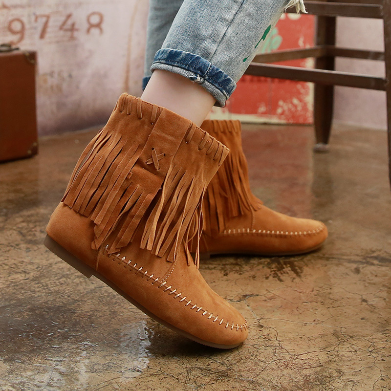 Womens Fringe Faux Suede Ankle Booties