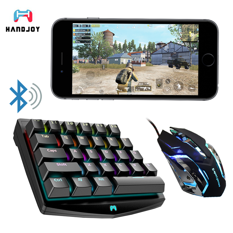 Handjoy K1 Bluetooth PUBG Mobile L1 R1 RGB Mechanical Keyboard Adapter Gamepad Controller Fire Aim Assist Tool for PUBG Game all in 1 gamepad for pubg controller l1 r1 mobile fire shooter for pubg trigger adjustable mobile gaming accessories for pubg