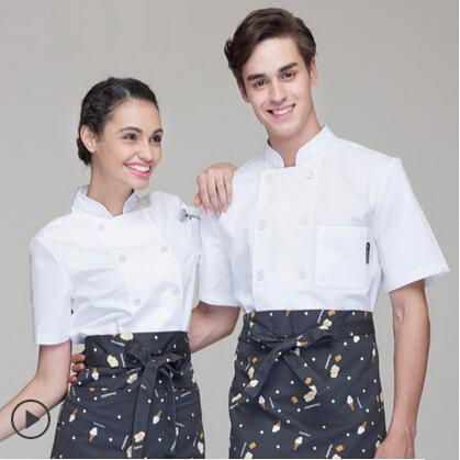 Summer Unisex Chef Double Breasted Short Sleeve Uniform,Feature Fabric Kitchen Work Wear,Restaurant Chef Jacket,Free Shipping,D3