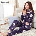 Flanela Pijamas Para As Mulheres Inverno Quente Espessamento Sleepwear Mulheres Salão Conjunto de Pijama Plus Size 3XL