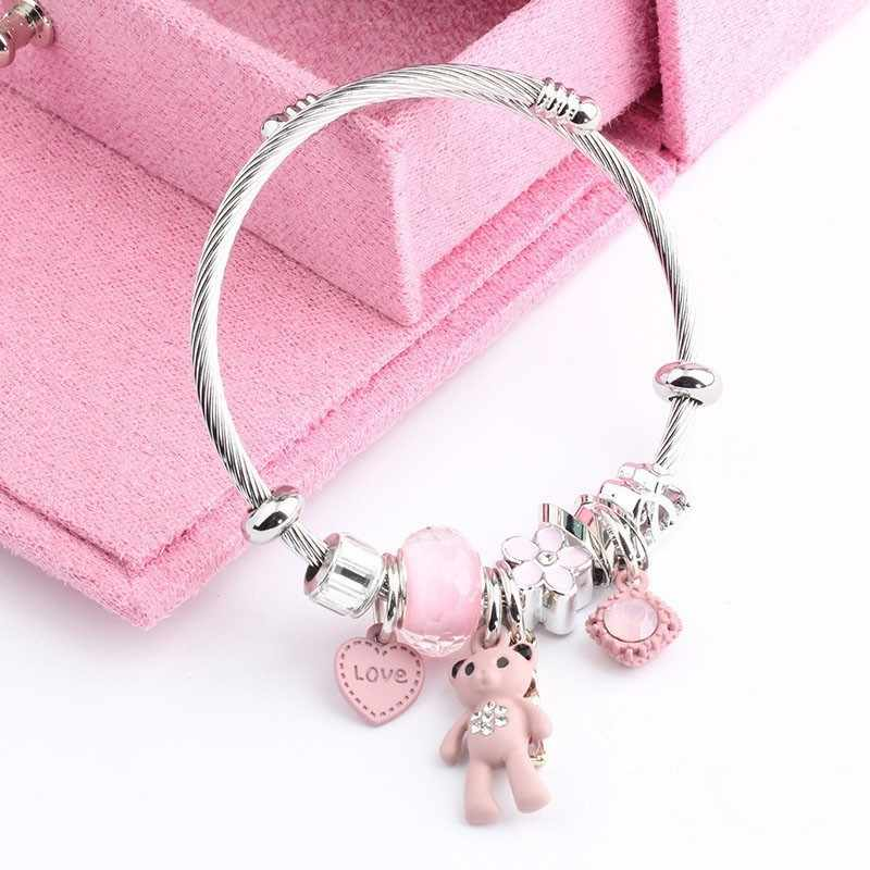 Hello Cat Bracelets Bangles Chain Charms Bracelet Femme Gifts For Women Stainless Steel Jewelry Braslet Bizuteria
