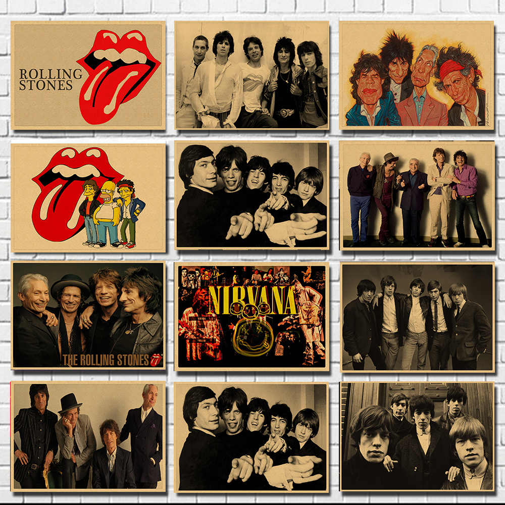 Big Tongue Music Rock Band Kraft Paper Bar Poster Wall Stickers Retro Poster Decorative Painting  30*20cm  Part2